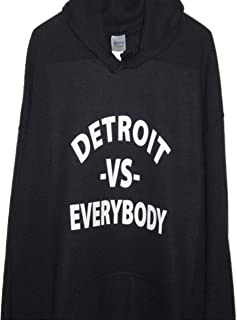 Detroit -Vs- Everybody Pull Over Hoodie Black All Sizes (Small, Black)