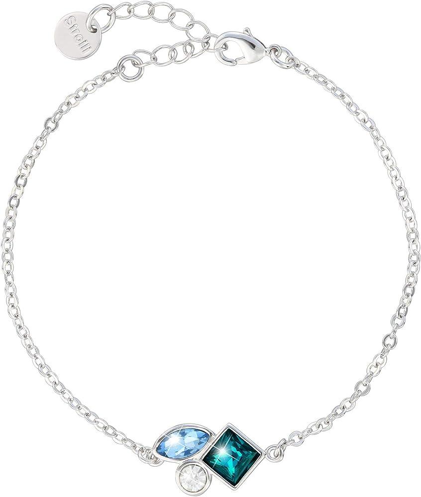 Stroili bracciale per donna con pietre sui toni dell`azzurro in metallo rodiato 1665793