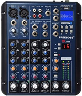 SMR6 Bluetooth USB Record 2 Mono+ 2 Stereo 6 Channels 3 Band EQ 16 DSP Effect USB Professional Audio Mixer Durable
