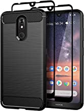 Teayoha Nokia 3 V Case with Tempered Glass Screen Protector [2 Pack], Carbon Fiber Scratch Resistant, Shock Absorption Soft TPU Drawing Protective Cases Cover for Nokia 3 V - Black