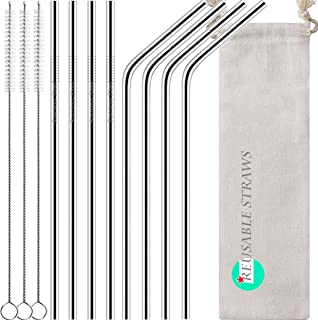 Antonki Reusable Straws, 8 Pack Stainless Steel Straws 10.5 Inch Ultra Long Rustproof Metal Drinking Straws with 3 Pack Long Cleaning Brush & Pouch for 30 OZ Tall Tumblers Cold Beverage