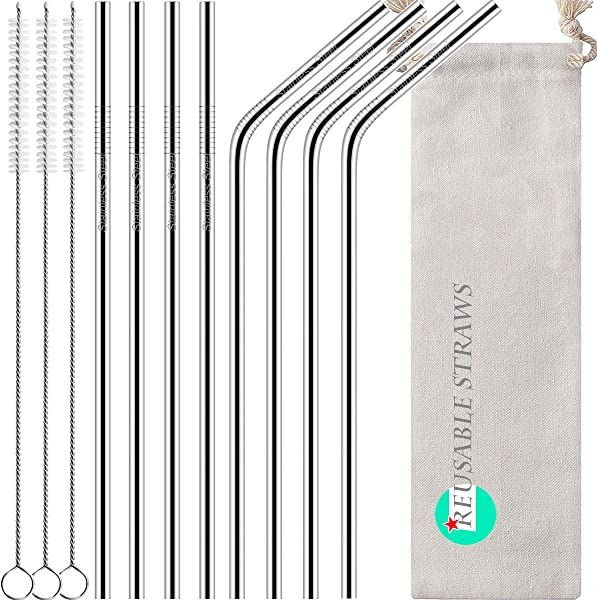 Antonki Reusable Straws 8 Pack Stainless Steel Straws 10 5 Inch Ultra Long Rustproof Metal Drinking Straws With 3 Pack Long Cleaning Brush Pouch For 30 OZ Tall Tumblers Cold Beverage
