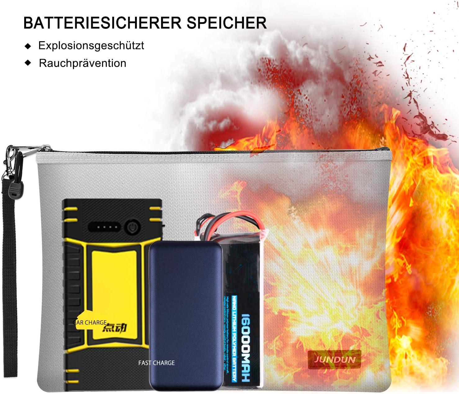 Wasserdichte und Feuerfeste Tasche,2 St/ück Feuerfeste Geldtasche f/ür Dokumente//Geld//Passport//Bankdatei und Bargeld grau JUNDUN Feuerfeste Dokumententasche