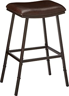 Hillsdale Saddle Counter/Bar Stool with Nested Leg, Brown