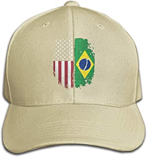 Unisex Vintage Brazilian American Flag Cotton Denim Baseball Hat, Adjustable Trucker Cap