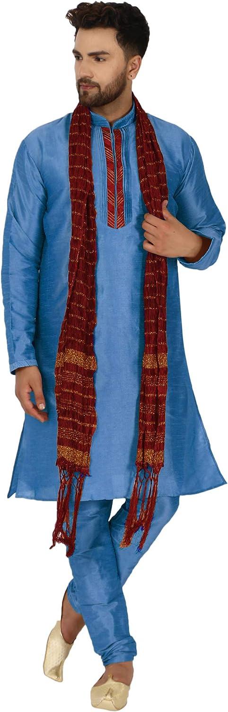 SKAVIJ Men's Art Silk Kurta Pajama and Scarf Ethnic Wedding Suit Party Dress Set