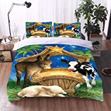Cattle And Sheep Duvet Cover ,3Pcs Bedding Set Natural Breathable,Pillow Cases Durable Easy Care, 3D Printing Twin 200X200Cm(78.7X78.7In)