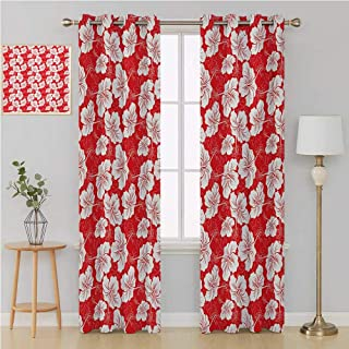 Benmo House Hawaiian grommit Curtain Decorative Curtains for Living Room,Hawaiian Flower Patterns Classic Silhouette Ornate Forest Springtime Cheerful Wall Curtain 84 by 84 Inch Vermilion White