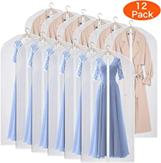 Kntiwiwo Garment Bags Dress Bag for Storage 60 inches Dust-Proof Suit Protector Cover Bag with Zipper for Long Dresses, Suit, Coat Closet Clothes Storage, Set of 12