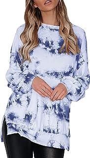 Choha Womens Oversized Pullover Sweatshirts Crewneck Tunic Sweatshirt Side Split Long Sleeve Tie Dye Tops
