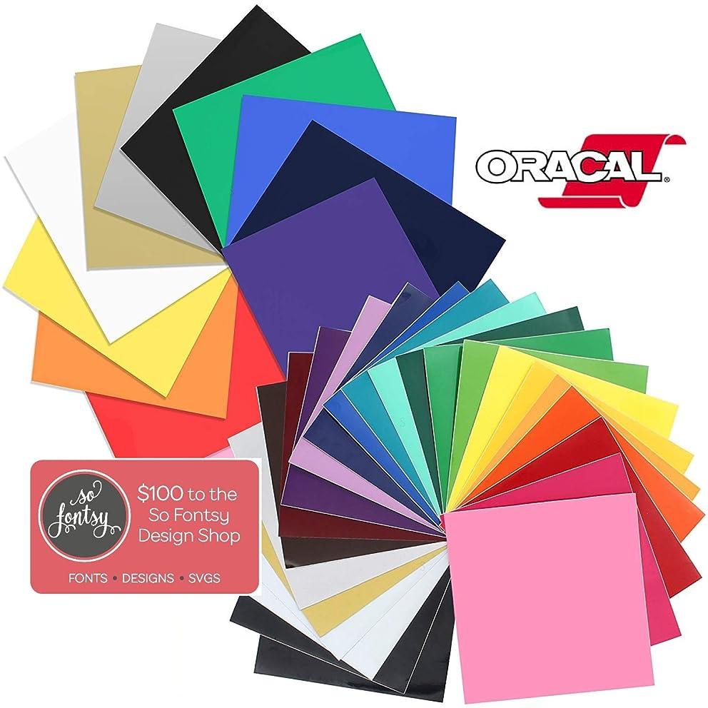 So Fontsy Oracal 651 Swing Heat Transfer Vinyl Sheet Bundle with Design Card, Worth $100