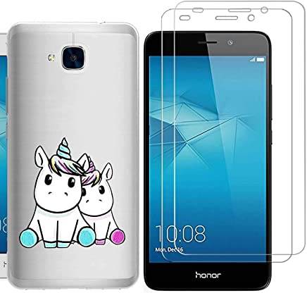 Huawei Honor 5C Case with 2 pack glass screen protector Phone Case for Men Women Girls ZDear Soft TPU with Protective Bumper Cover Case for Huawei Honor 5C-Rose