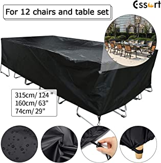 ESSORT Patio Cover, Large Outdoor Sectional Furniture Set Cover, Table Chair Sofa Covers, Waterproof Dust Proof Anti UV/Wind, Protective Cover for Garden Loveseat (124