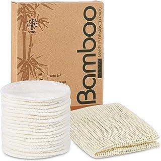 20 بسته پد پاک کننده آرایشی قابل استفاده مجدد آلی ، دور پنبه طبیعی بامبو طبیعی قابل شستشو برای انواع پوست با کیسه لباسشویی پنبه ای