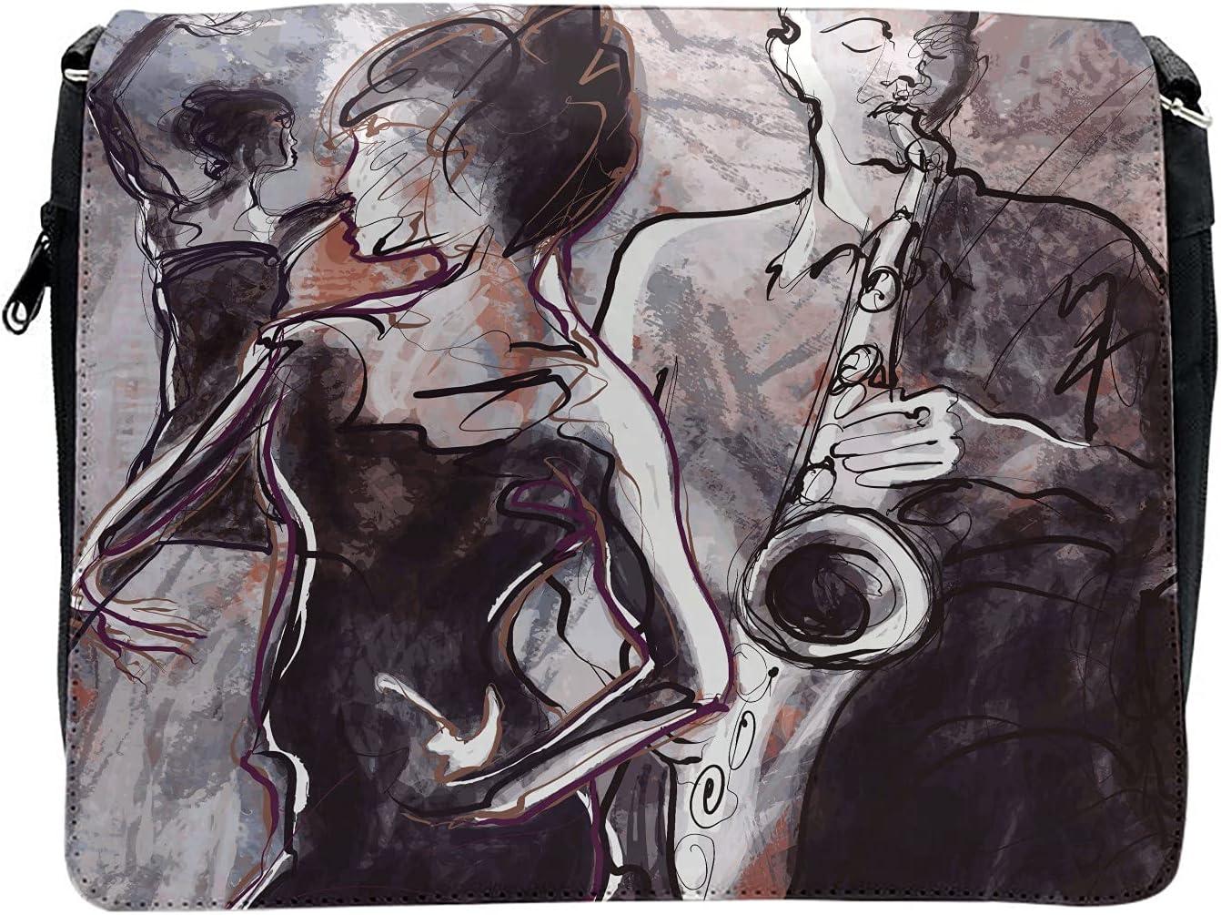 Ambesonne Music Cross Body Messenger Bag, Jazz Musician Saxophone, Unisex