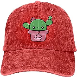 LeoCap Kawaii Cactus Baseball Cap Unisex Washed Cotton Denim Hat Adjustable Caps Cowboy Hats