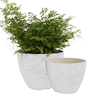LA JOLIE MUSE Flower Pots Outdoor Garden Planters, Indoor Plant Pots with Drainage Holes, Speckled White (8.6 + 7.5 Inch)