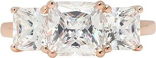 3.45ct Brilliant Emerald Cut Three Stone Engagement Promise Statement Wedding Bridal Anniversary Ring 14K Rose Gold