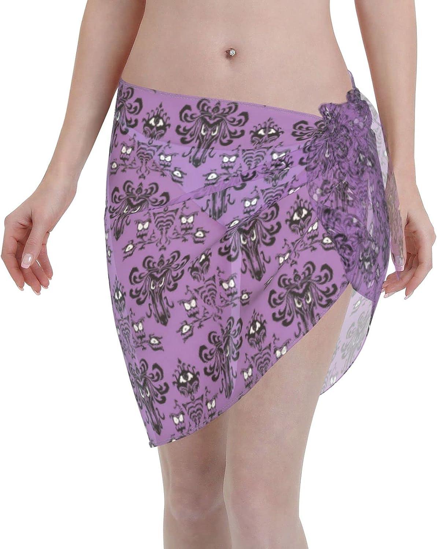 Magic Castle Haunted Mansion Women Short Sarongs Beach Wrap Swimwear Cover Ups Sheer Short Skirt Bikini Chiffon Scarf Black