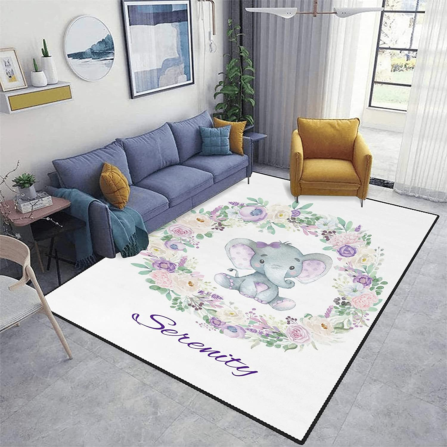 Personalized Dealing full price reduction Garland famous Elephant Flowers Area Mat Rugs Kitchen Bath