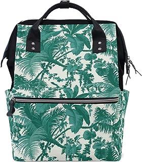 FAJRO Rucksack mit Blättern und Bäumen aus Segeltuch, Dunkelgrün