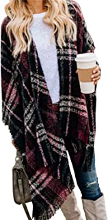 Women Boho Buffalo Plaid Poncho Pashmina Shawl Wrap Cape Sweater Knitting Cardigan with Tassel