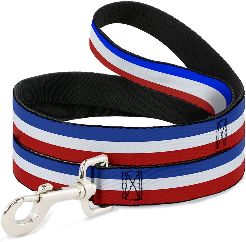 BuckleDown DLW31952N Narrow 0.5  Stripes Red White bluee Dog Leash, 4'