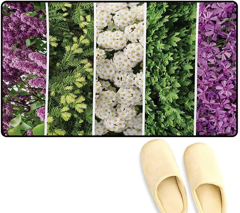 Door-mat,Collage Mix Diverse Herbs Blossoming Bouquet Flowers Romantic Wedding Concept,Door Mats Inside Bathroom Mat Non Slip,Green purple,20 x32