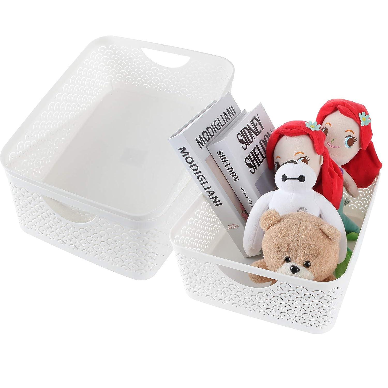 STARVAST 3 Pack Plastic Storage Baskets, Portable White Fish Scale Pattern Hollow Desktop Storage Bin Box with Handle for Kitchen, Bathroom, Kids Room or Nursery Storage – 13.8 x 11.2 x 5.1 inches
