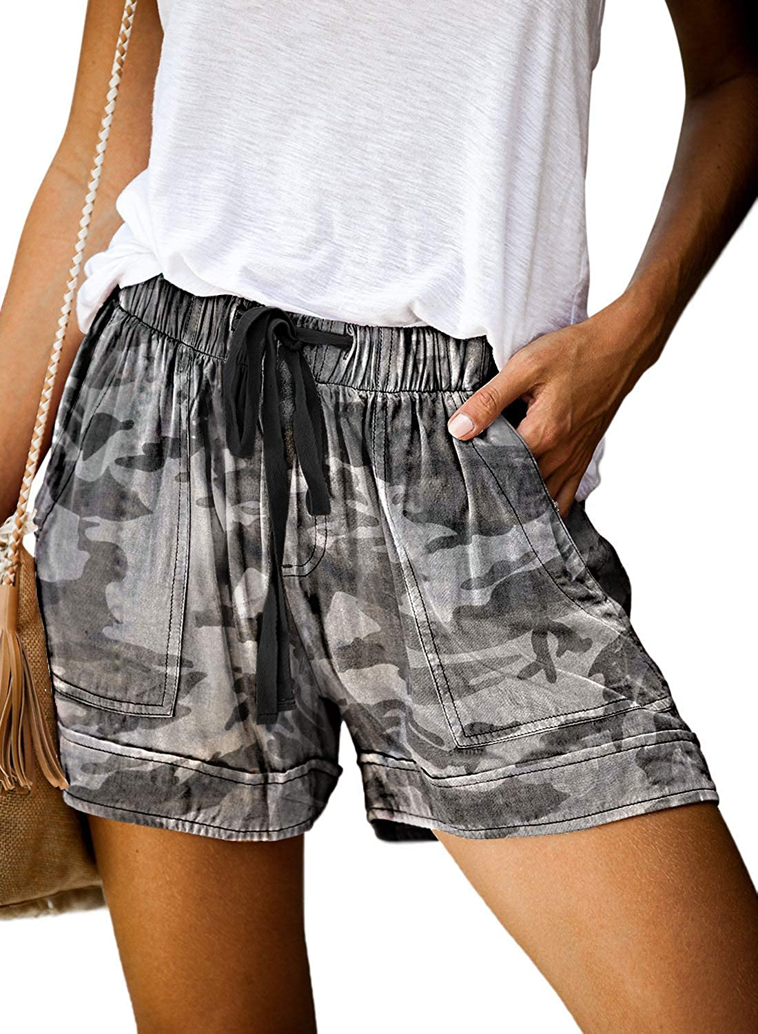 Uusollecy Time sale Women's Casual Shorts Waist Elastic Drawstring Limited price
