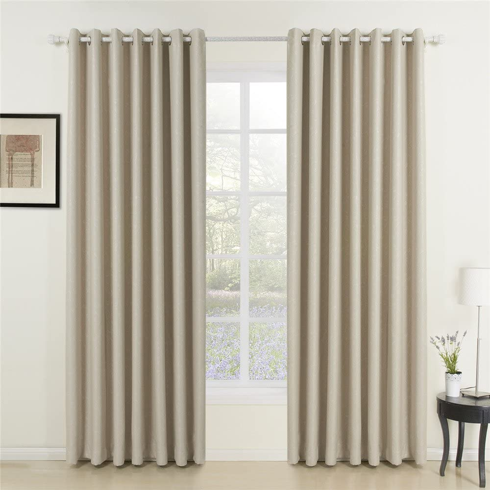 Year-end gift IYUEGO Classic Beige Curtain Solid Top Room Max 68% OFF Darkening Grommet Cu
