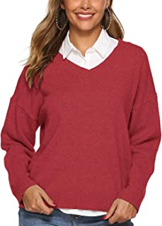 LUZAISHENG Solid Color Simple V-Neck Sweater 2020 Fashion (Color : Red, Size : XL)