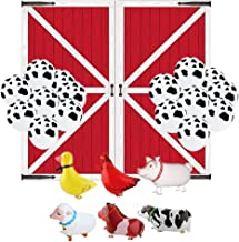 Borang Farm Animal Birthday Bbq Party Decor Farm Birthday Party Supplies,Include 6 Pack Walk Animal Balloons,25 Pack Cow Print Balloons And Barn Door Props Party Accessory