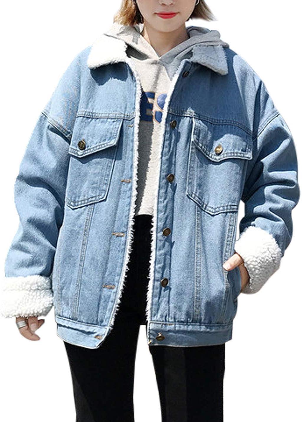 Jenkoon Women's Oversized Thick Warm Sherpa Fur Lined Denim Trucker Jacket Boyfriend Jean Coat