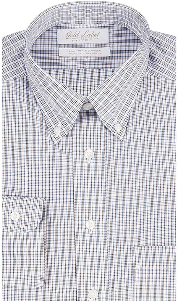 Gold Label Roundtree & Yorke Non-Iron Fitted Button Down Plaid Dress Shirt G16A0028 Brown Multi
