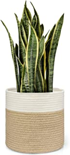"Dahey Jute Spliced Cotton Rope Plant Basket Modern Woven Storage Basket for 10"" Floor Indoor Planter, 11"" x 11"" Decorative..."