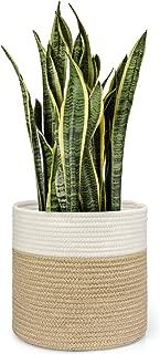 Dahey Jute Spliced Cotton Rope Plant Basket Modern Woven Storage Basket for 10