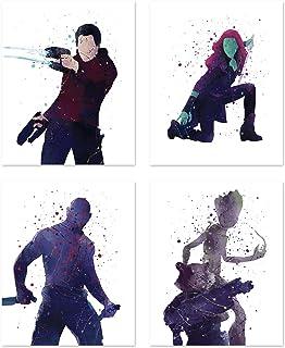 PGbureau Guardian Of The Galaxy ملصقات فنية جدارية - مجموعة من 4 - Groot - Peter Quill - Gamora - Rocket - Drax- ديكور منز...