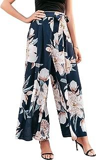 Women's Boho High Waist Wide Leg Pants Floral Print Summer Beach Pants