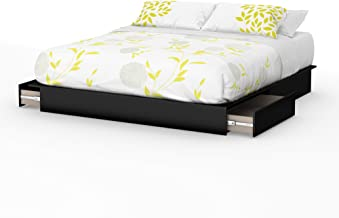 South Shore Step One Platform Bed with 2 Drawers, King 78-Inch, Pure Black