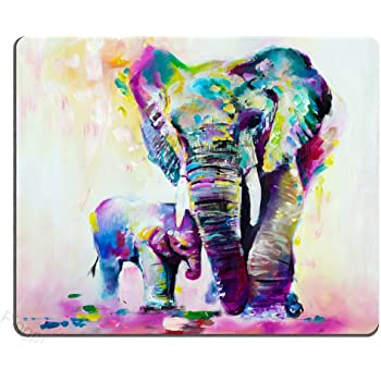 Pingpi Unique Custom Rectangle Mouse Pad Extended,Abstract Vintage Watercolor African Elephant Art Paintings,Gaming Non-Slip Rubber Large Mousepad