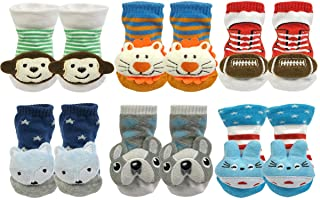Wrapables 3D Cartoon Anti-Skid Baby Booties Sock Slippers (Set of 6)