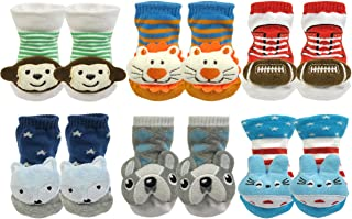Boy and Girls 3D Cartoon Anti-Skid Baby Booties Sock Slippers (Set of 6)