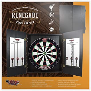 Shot! Darts Darts Renegade Dartboard & Cabinet Set-Dart Cabinet Set-Steel Tip Darts Board Cabinet Set-Black Laminate Finish