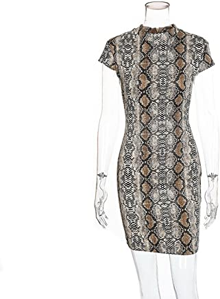 better-caress 2018 Summer Snake Skin Print Sexy Serpentine Short Sleeve Women Slim Mini Dress