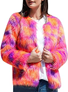 Women Multicolor Winter Long Sleeve Faux Fur Coat Warm Open Front Jacket for Party Club Cocktail