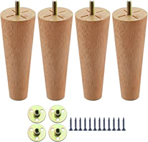 8 Inch Furniture Legs Set of 4, Round Solid Wood Chair Leg Couch Legs, Mid Century Table Legs Replacement for Sofa, Armchair, Coffee Table, Cabinet, Ottoman, Bed,Chest, Drawers
