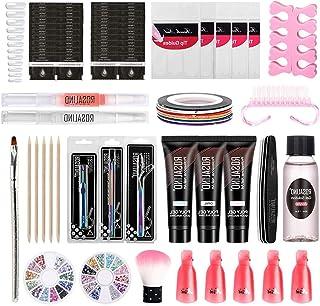 Nail Glue Extension Kit, Full Set of Crystal Nail Phototherapy Extension Glue Tools, Starter Kit Nail Art Tools Gel Nail K...