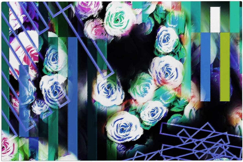 KESS InHouse Dawid ROC Cool pinks-Floral Stripes bluee Green Decorative Door, 2' x 3' Floor Mat