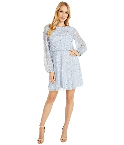 Adrianna Papell Petite Beaded A-Line Cocktail Dress (Glacier) Women
